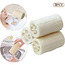 Hisight 100% Natural Loofah Body Skin Exfoliating Bath Sponge Scrubber Best Luffa Body wash Great for Skin Care in the Bath ,Spa or Shower ,Perfect size,Pack of 3