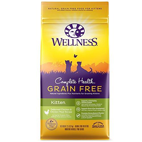 Wellness Complete Health Natural Grain Free Dry Cat Food,  Kitten Health Deboned Chicken & Chicken Meal Recipe, 2.25-Pound Bag