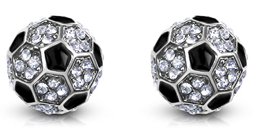 Small Crystal Embellished Soccer Ball Stud Earrings Silver Tone Girls, Teens, Women (Silver & Black)