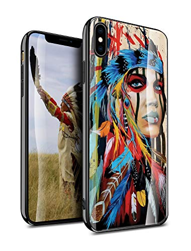 iPhone Xs Max Case Cover Protective, Native American Indian Aztec Tribal Tribe Vintage Retro Original Antique Feather Pattern Design, Slim Fit Thin Grip Soft TPU and Hard Plastic Phone Cases - KITATA
