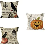 PSDWETS Halloween Decorations Bird,Skull Pumpkin Pillow Covers Set of 3 Home Decor Cotton Linen Throw Pillow Covers Cushion Cover 18 X 18