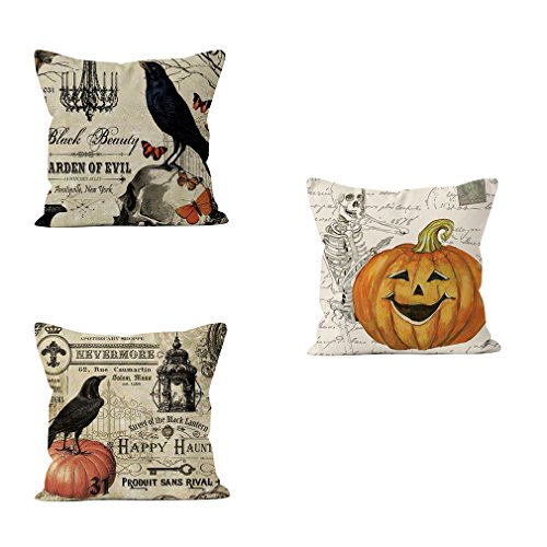 PSDWETS Halloween Decorations Bird,Skull and Pumpkin Pillow Covers Set of 3 Home Decor Cotton Linen Throw Pillow Covers Cushion Cover 18 X -