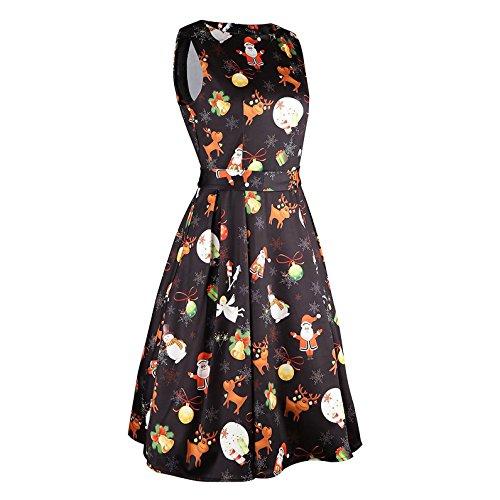 Mujer Vestidos Retro Vestir Sin mangas Vendimia Fiesta Cóctel Noche Impresión Acampanado Oscilación Vestir Mini Vestir Kootk Negro