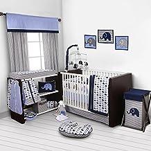 Bacati Elephants Blue/Grey 10 Piece Crib Set including Bumper Pad