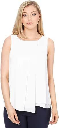 Roman Originals - Camiseta asimétrica para mujer, de doble capa, con parte frontal, ligera, sin mangas, para oficina, verano, para salir de noche, vacaciones, chaleco