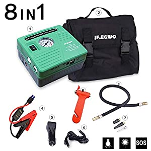 Car Jump Starter with Air Compressor, 450 Peak 120 PSI 13000 mAh Battery Jump Pack, with Smart Jumper Cable,buid in 2 USB Ports and 2 LED Lights Jump Starter for Cars, By JF.EGWO