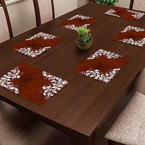 HOMECROWN Printed PVC Plastic Placemats Set of 6 Pieces, Waterproof Square Table Mats, Suitable for Bedside Table/Center…
