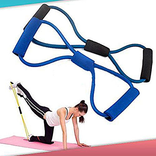 Training Resistance Bands Rope Tube Workout Exercise for Yoga 8 Type Fashion Body Fitness (Random Colour) by Broadfashion