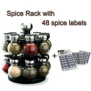 Olde Thompson 16-Jar Orbit Spice Rack (Spice Rack with Spice Labels)