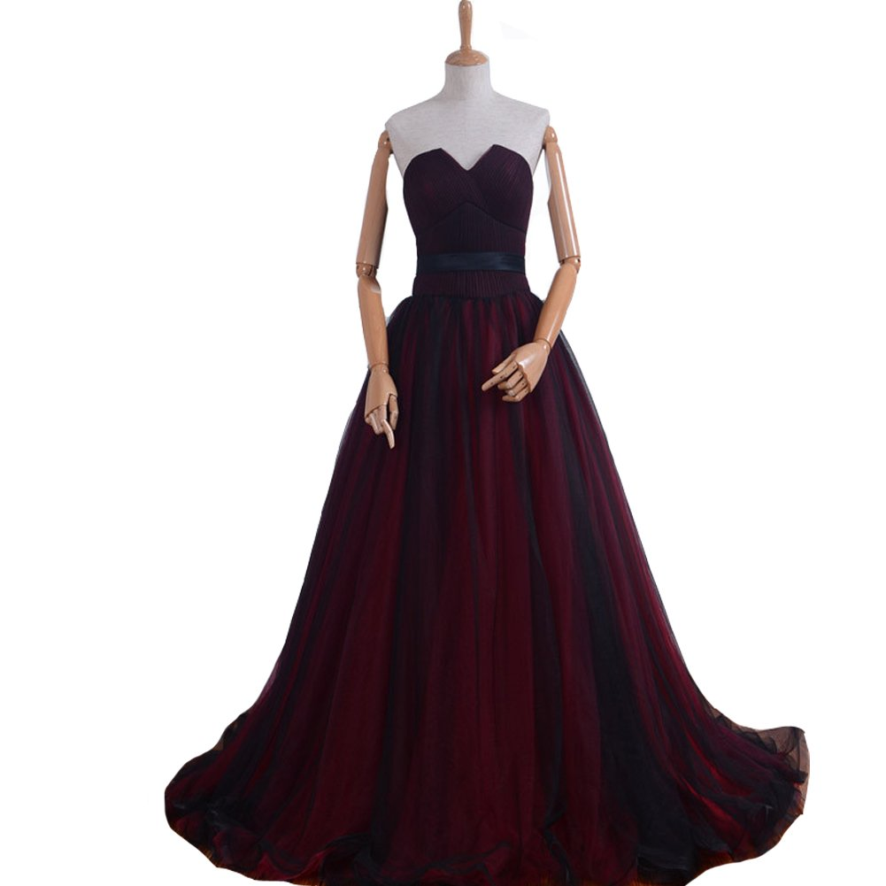 Kivary Gothic Black Tulle Long Sash Sweetheart Corset Formal Prom Evening Dresses Wine Red US14