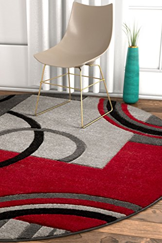 Echo Shapes & Circles Red / Grey Modern Geometric Comfy Casual Hand Carved Round Area Rug 5 ( 5'3