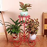 LQQGXL Multi-storey green turquoise orchid floor living room interior floor Flower stand ( Color : Red )