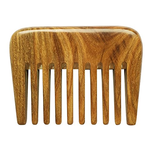 Follicle Release Drops (BeneAlways Portable Hair & Beard Comb/Pick – Made From One Whole Piece of Natural Green Sandalwood with Fragrant Scent (Wide Tooth))