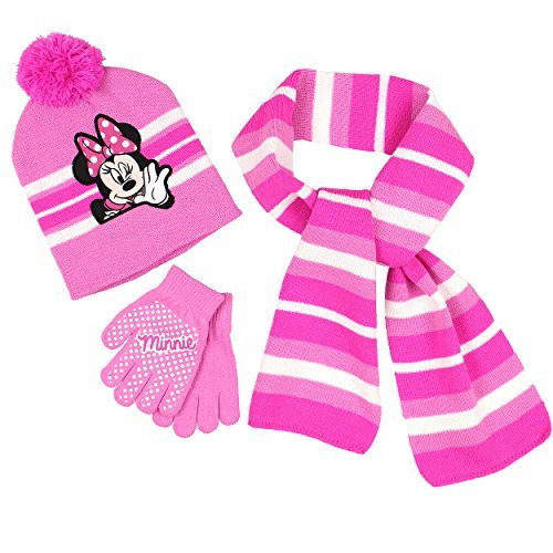 Minnie Mouse Girls 3 Piece Beanie Hat Gloves and Scarf Set (One Size, Pink)