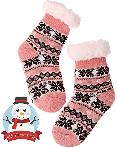 Boys Girls Slipper Socks Fuzzy Soft Warm Thick Heavy Fleece lined Christmas Stockings For Child Kid Toddler Winter Socks(For 5-9Y Kid, Pink)