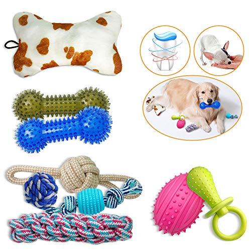 Popetz Dog Chew Toys 9 Pack, Dog Rope Toy Dog Squeaky Toys Plush Dog Toys