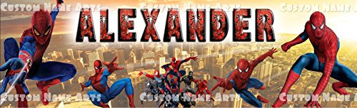 Personalized Spiderman Banner Birthday Poster Custom Name Painting Wall Art Decor