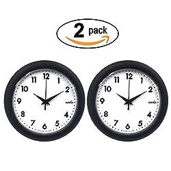 Hippih 10 Silent Quartz Decorative Wall Clock Non-ticking Digital 2 Pack
