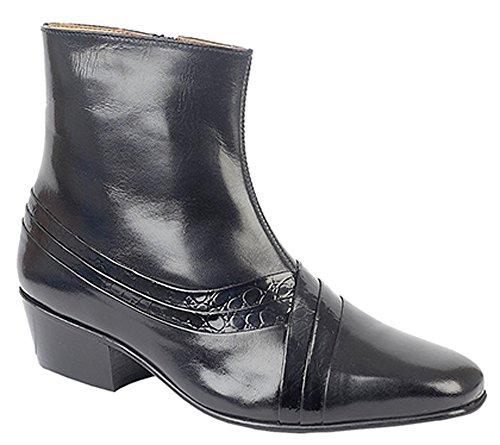 Montecatini Herren Cuban Heel Seite Reißverschluss Stiefel Schwarz Reptil Leder Größen 67891011