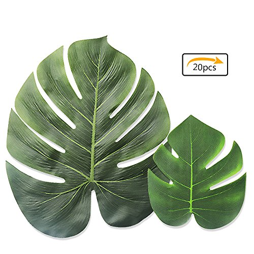 LEOBRO Tropical Palm Leaves Simulation Leaf Artificial Tropical Green Plant Leaves 13 Inch and 8 Inch combination leaves for Hawaiian Luau Party Decoration Shipping by FBA (20 Pieces) Tropical Palm Leaf