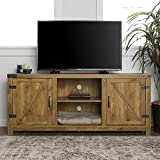 Rustic TV Stand with Barn Side Doors Storage Cupboards, 58-inch