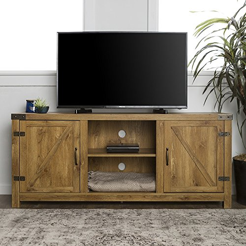 Rustic TV Stand with Barn Side Doors Storage Cupboards, 58-inch Deal (Large Image)
