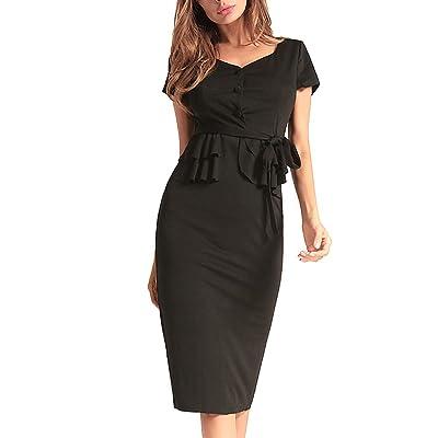 5ALL Frau Summer Wickelkleid Elegant Strandkleid Mode Sommerkleid Beiläufige Partykleid V-Ausschnitt Kurzarm Slim Fit Abendkleid Minikleid Cocktail Kleid Knielang mit Gürtel