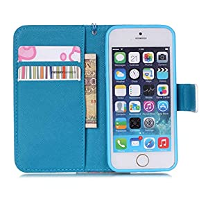 iPhone 5 Case, Alkax Wallet Case with Stand Pattern Card ID PU Leather Flip Cover (Pink)