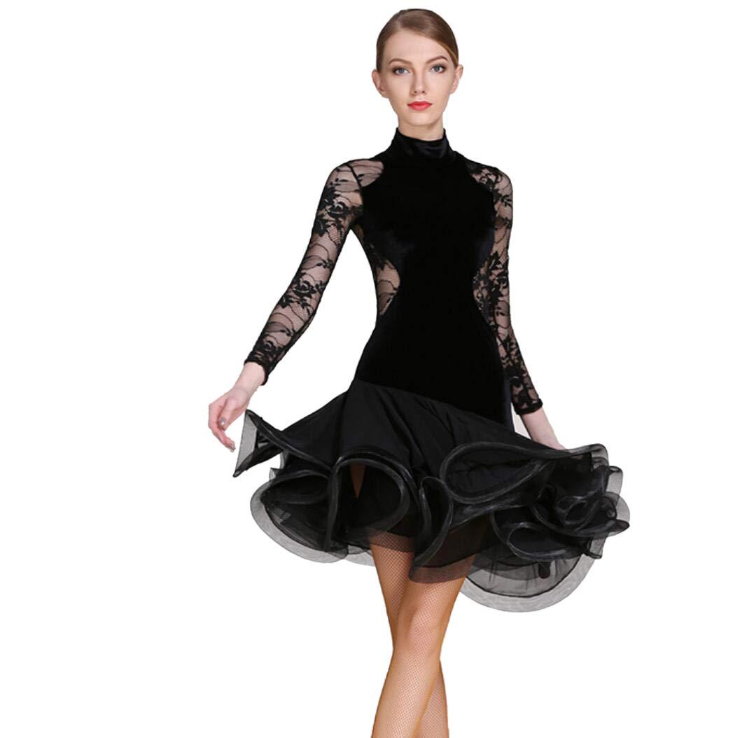 noir M SMACO Robe de Danse Latine à Manches Longues pour Adultes Costume de Danse Latine
