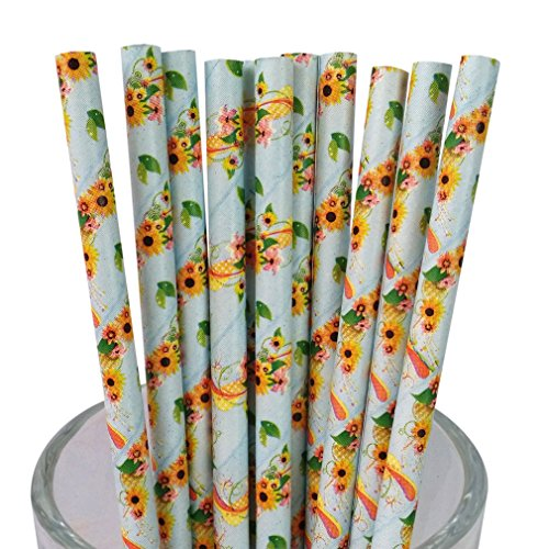 free-dhl-500-pcs-light-blue-floral-paper-straws-bulk-vintage-disposable-colorful-yellow-flower-paper
