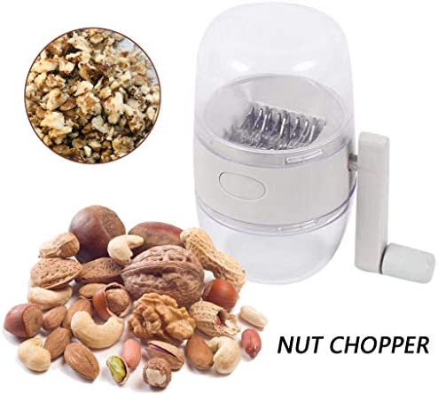 Hand Crank Nut Chopper, Stainless Steel Portable Peanuts Sesame Walnuts Grinder Blender Household Manual Food Processor Food Chopper with Handle, Easy to Use, BPA-Free
