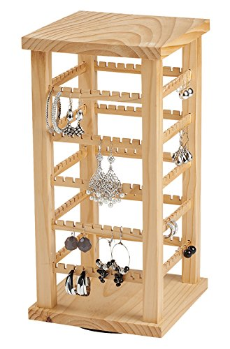 - SSWBasics Earring Display - Wood Display Carousel - Rotating