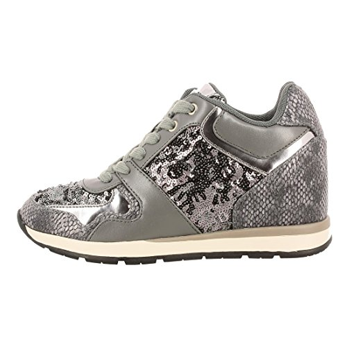 TESSUTO donna zeppa sneakers lacci GREY GUESS 41 Laceyy FLLCY3FAB12 FXqEpF1T
