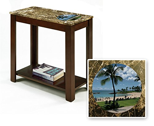 New Rectangular Top Espresso / Cappuccino Finish Night Stand End Table featuring Hawaii Beach Theme