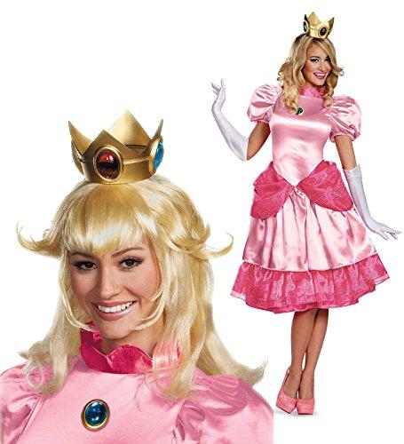 Super Mario Princess Peach Deluxe Adult Costume Kit - Small 4/6 (Mario Daisy Costume)
