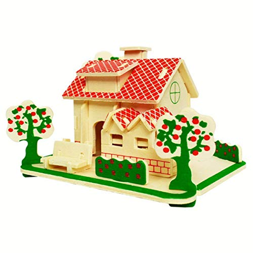 lazinem Creative Children DIY 3D Puzzle House Wooden Kids Educational Toy Gifts Blocks from lazinem