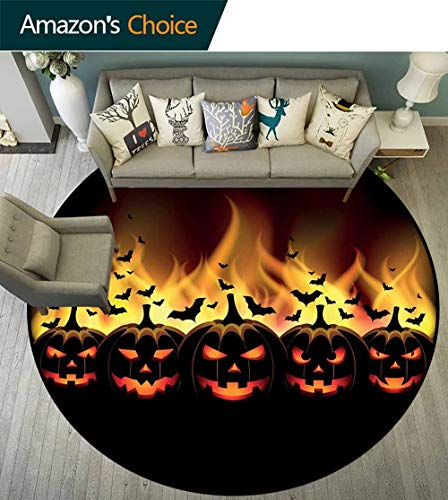 Vintage Halloween Round Rug Easy to Clean,Happy Halloween Image with Jack o Lanterns on Fire with Bats Holiday Protection and Cushion for Floors,Black Scarlet,D-51