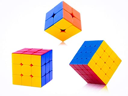 Assemble High Speed Stickerless Magic Rubix Cube, 2x2, 3x3, 4x4 (Multicolour) - Pack of 3
