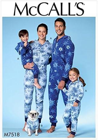 McCalls Patron de famille Patron de couture facile 7518//à capuche Combinaison /& Dog Manteau avec poche kangourou