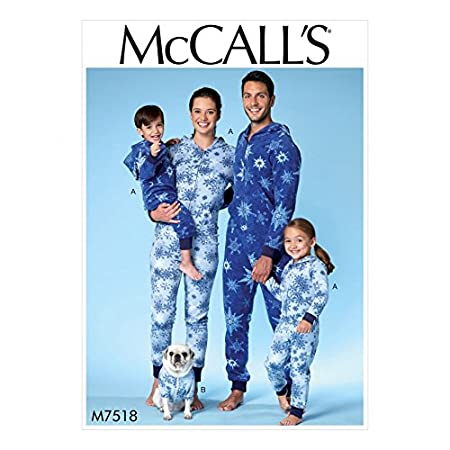 McCalls Family Easy Sewing Pattern 7518 Hooded Onesies & Dog Coat ...