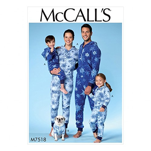 - McCalls Family Easy Sewing Pattern 7518 Hooded Onesies & Dog Coat with Kangaroo Pocket
