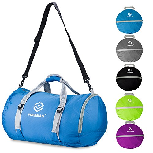 2017-Updated Version Foldable Sports Duffel Gym Bag for Women Men with Shoe Compartment, Lightweight Waterproof, Travel Carry on Weekend Bag