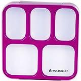 Wonderchef 5-in-1 Ultra Plastic Lunch Box, 1.2 Litres, Purple
