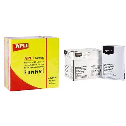 APLI 10974 - Notas adhesivas FUNNY 75 x 75 mm cubo de 400 ...