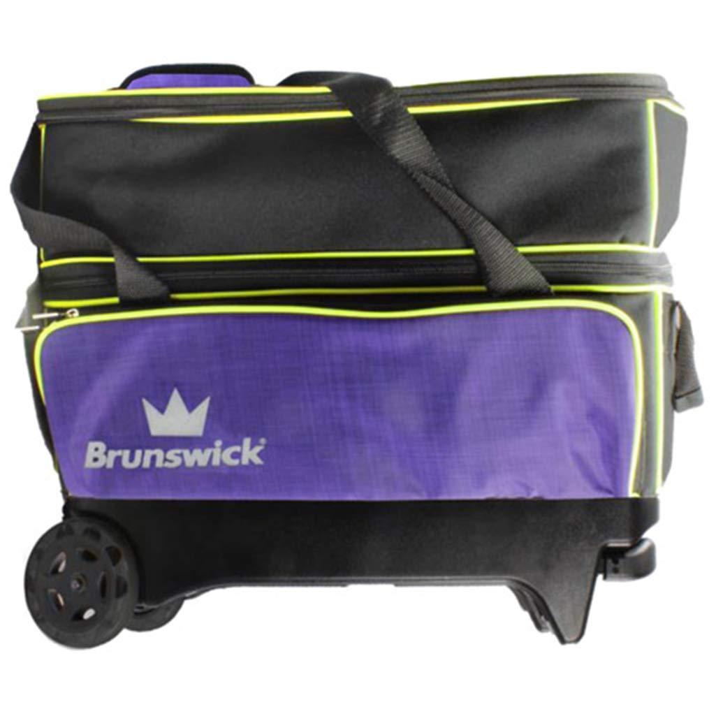Brunswick クラウン ダブルローラー ボーリングバッグ パープル/イエロー B07F1898D3