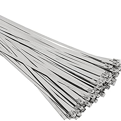 SunplusTrade 100pcs 11.8 Inches Stainless Steel Exhaust Wrap Multi-Purpose Locking Cable Zip Ties