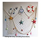 Mediterranean Decorative Nautical Fish Net - Anchor Sea Shells Home Party Decoration 59''x 79''