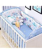 YOURPAI Bomull baby sängkläder, 5 st bomull baby sängkläder set tvättbar småbarn spjälsäng stötfångare lakan örngott