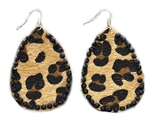 Crystal Framed Leopard Print Earrings, 2.25