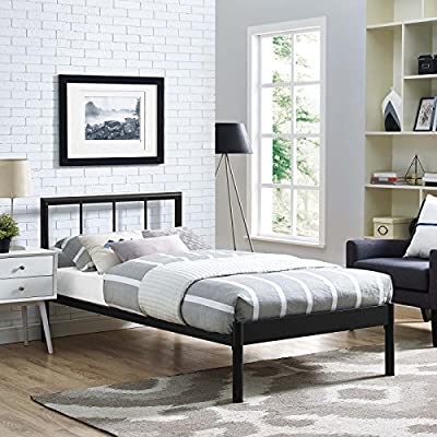 Modway Gwen Steel Metal Farmhouse Platform Twin Bed Frame With Headboard in Brown - BEDROOM UPDATE - Instantly refresh a guest room, kid's or teen's room with this platform bed frame. The modern farmhouse style of Gwen's metal headboard is the ideal backdrop for bedding of all kindS CONTEMPORARY STYLE - Modern in form with rustic and vintage accents, the conceptually simple design and clean lines on Gwen make this platform bed frame a seamless addition to any bedroom décor STURDY MATTRESS FOUNDATION - Extend the life of a variety of mattress types, including memory foam, latex, hybrid, and spring, thanks to the sturdy, supportive slats and reinforced frame - bedroom-furniture, bed-frames, bedroom - 519UW4jWaWL. SS400  -
